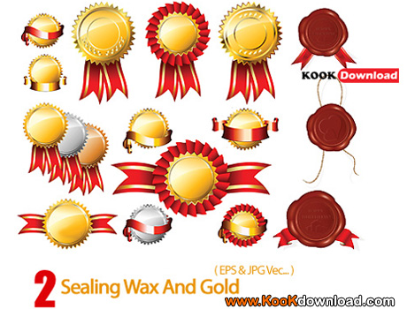 وکتور مهر طلایی و مومی شکل Sealing Wax And Gold